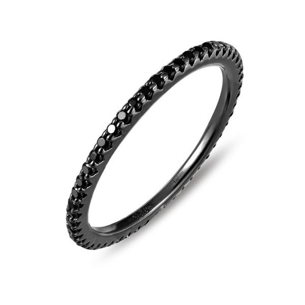 Lafonn Signature Lassaire Black Simulated Diamond Stackable Ring R0038BKB
