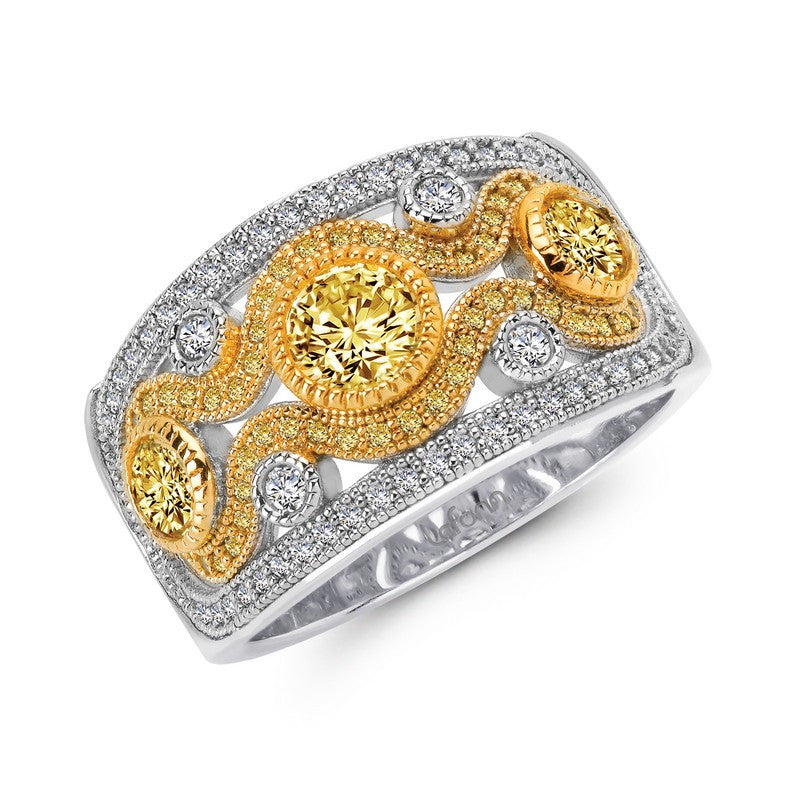 Lafonn Signature Lassaire Simulated White & Canary Diamond Two-Tone Ring R0049CAT