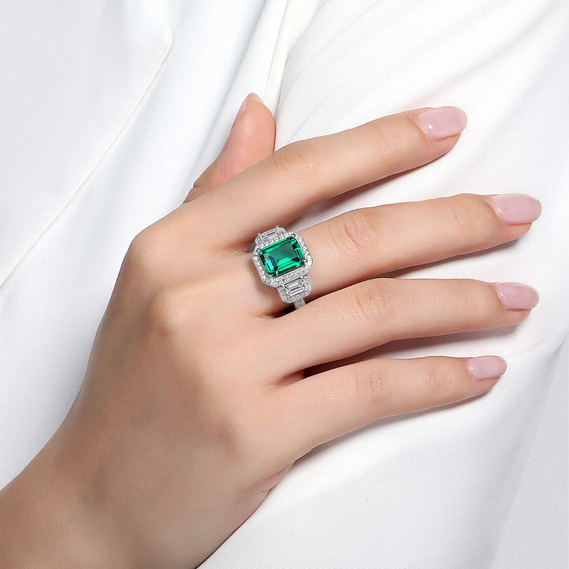 Lafonn Signature Lassaire Simulated Emerald Diamond Three Large Stone Ring R0070CEP