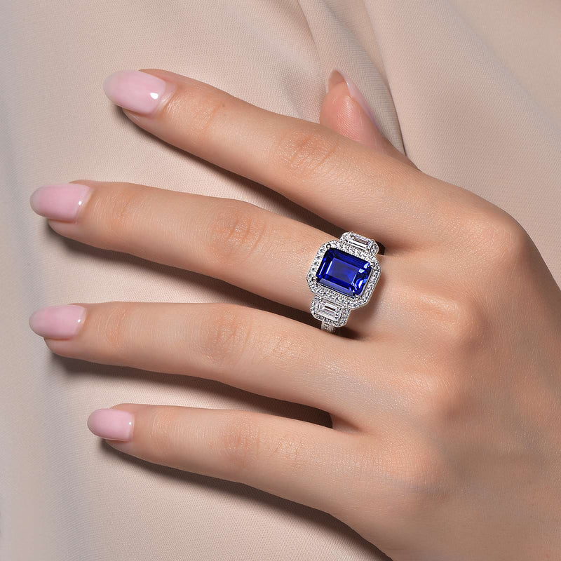 Lafonn Signature Lassaire Simulated Diamond & Blue Sapphire Three Stone Ring R0070CSP