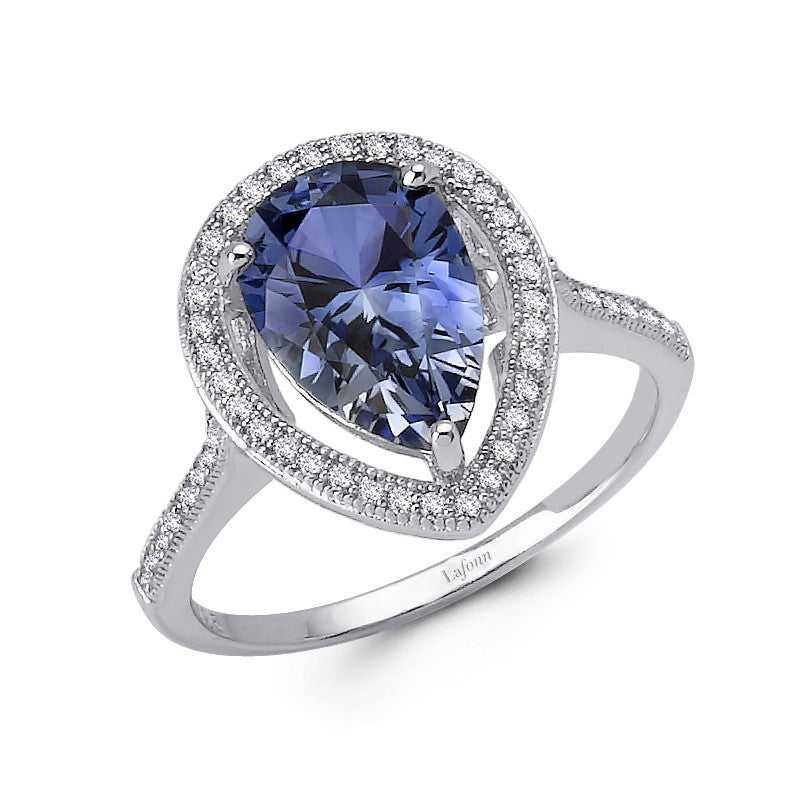 Lafonn Signature Lassaire Simulated Tanzanite Diamond Halo Ring R0083CTP05