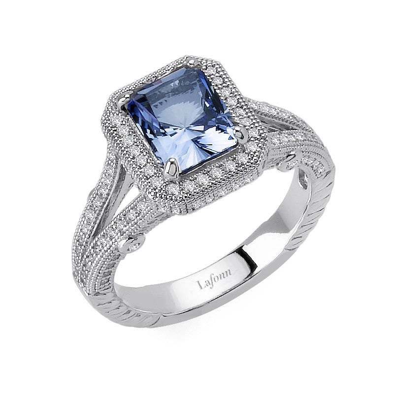 Lafonn Signature Lassaire Simulated Tanzanite Diamond Halo Ring R0085CTP05