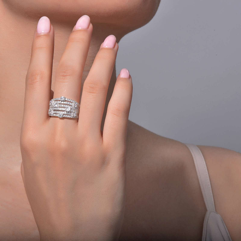 Lafonn Signature Lassaire Simulated Diamond Elegant Multi Band Ring R0110CLP