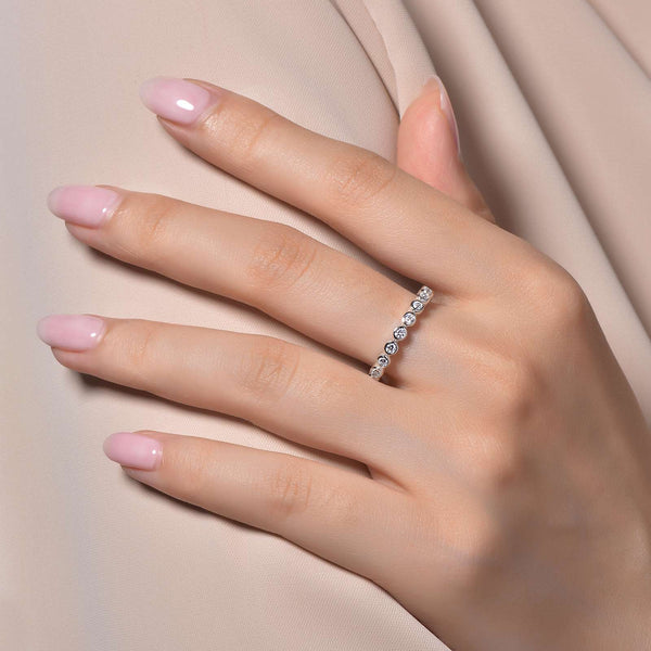Lafonn Signature Lassaire Simulated Diamond Bezel Eternity Stackable Ring R0120CLP