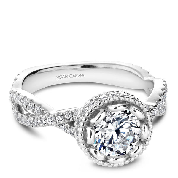 Noam Carver Vintage Halo with Twisted Shoulders Diamond Engagement Ring R015-01RA