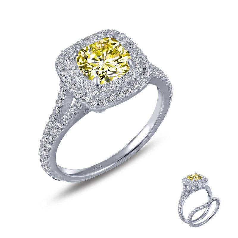 Lafonn Signature Lassaire Simulated Diamond and Canary Halo Ring R0151CAP