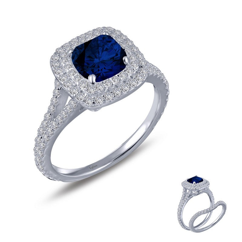 Lafonn Signature Lassaire Simulated Diamond and Sapphire Halo Ring R0151CSP