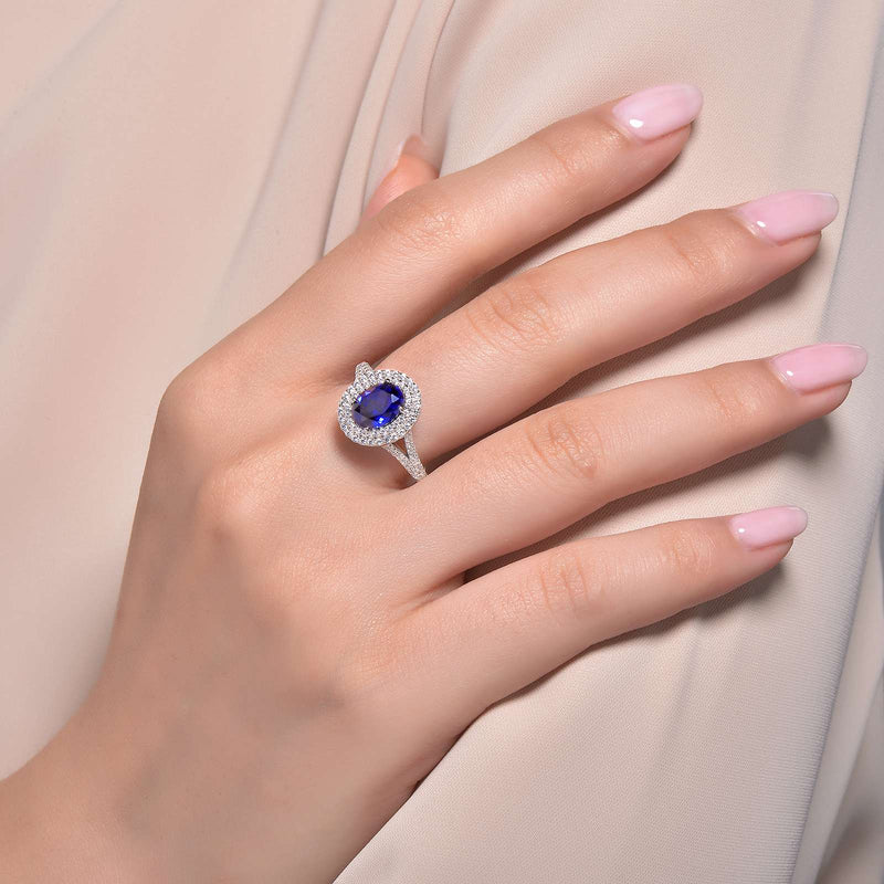 Lafonn Signature Lassaire Simulated Diamond and Sapphire Double Halo Ring R0155CSP