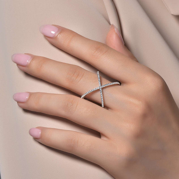 Lafonn Signature Lassaire Simulated Diamond Crossover Ring R0171CLP