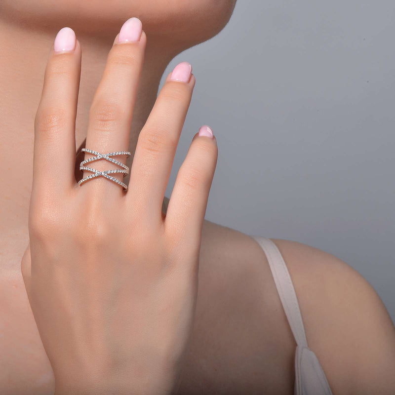 Lafonn Signature Lassaire Simulated Diamond Double Crisscross Ring R0172CLP