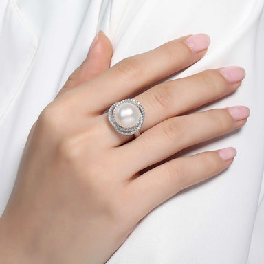 Lafonn Signature Lassaire Simulated Diamond and Fresh Water Pearl Airy Knot Ring R0179PLP