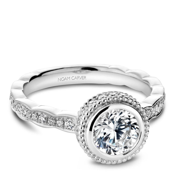 Noam Carver Bezel Halo Diamond Engagement Ring R018-01A