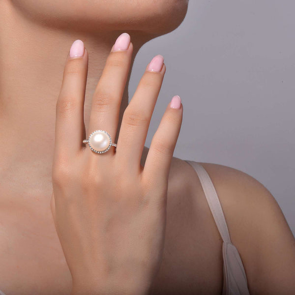 Lafonn Signature Lassaire Simulated Diamond and Fresh Water Pearl Halo Ring R0182PLP