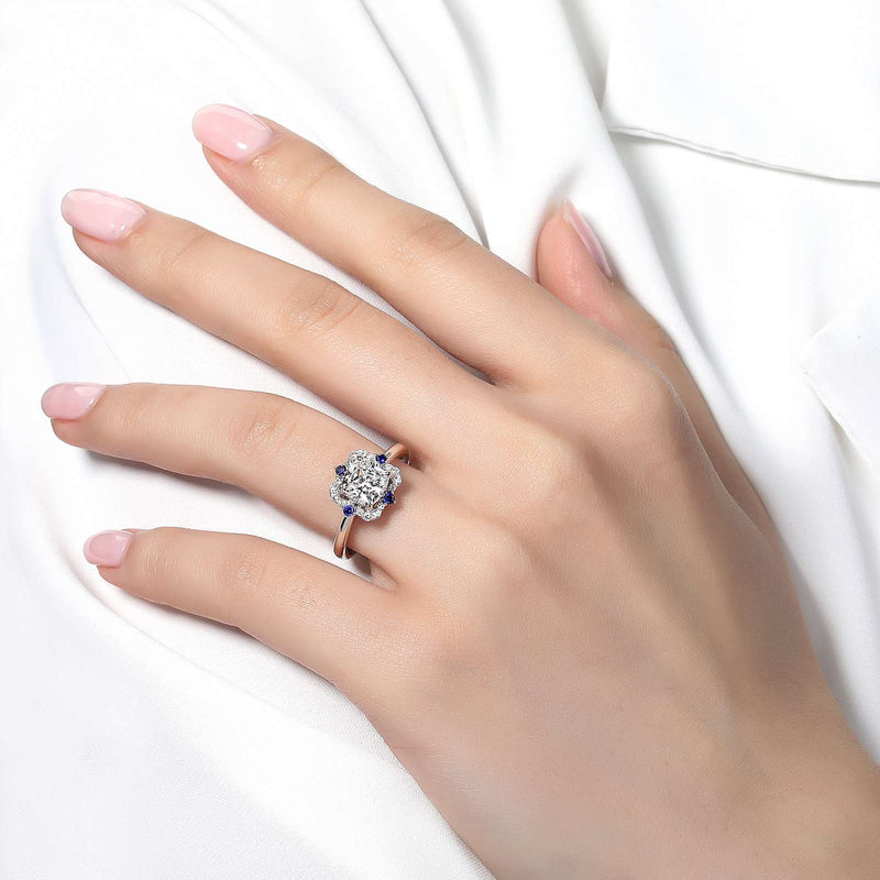 Lafonn Signature Lassaire Simulated Sapphire Diamond Art Deco Inspired Ring R0227CSP05