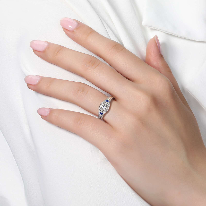 Lafonn Signature Lassaire Simulated Sapphire Diamond Art Deco Inspired Ring R0246CSP05