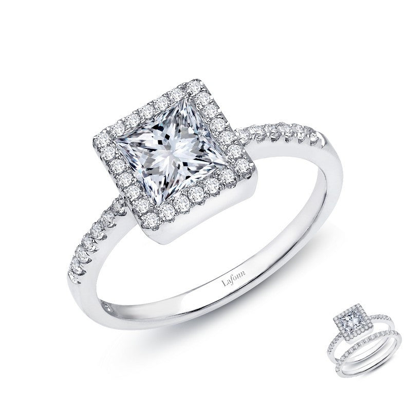 Lafonn Signature Lassaire Simulated Diamond Square Halo Ring R2002CLP