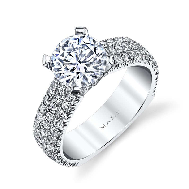 Mars Bridal Jewelry 14K White Gold Engagement Ring w/ Triple Row Diamond Shank & Facet Pave Setting R247