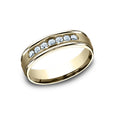 Benchmark Comfort Fit  Channel Set Diamond w/ High Polished Round Edge Wedding Band RECF516516