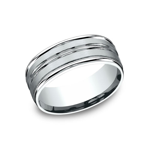 Benchmark Comfort Fit  Satin-Finished Carved Design w/ High Polished Round Edge Wedding Band RECF58180