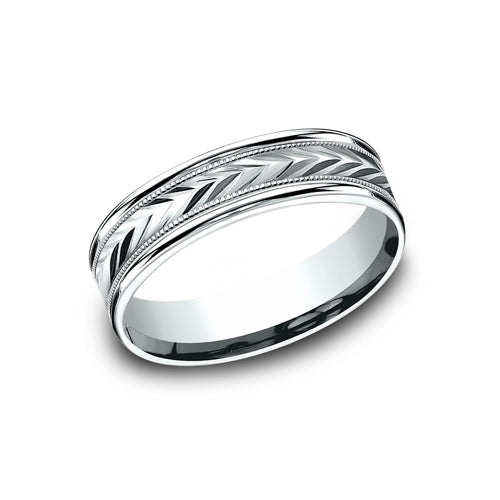 Benchmark Comfort Fit  Directional Arrows Carved Design Wedding Band RECF7603