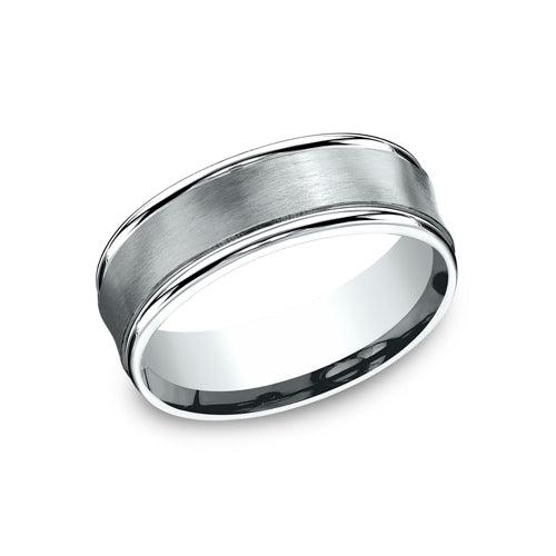 Benchmark Comfort Fit  Satin-Finished Carved Design w/ Concave Design & High Polished Round Edge Wedding Band RECF87500