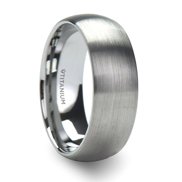 Thorsten Eris Titanium Brushed Finish Domed Wedding Band (8mm)T1016-TDB