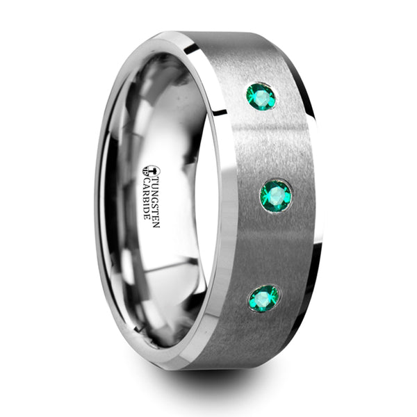 Thorsten Icarus Brushed Tungsten Men's Wedding Ring w/ Polished Beveled Edges & 3 Emeralds(8mm)T5424-BPBE