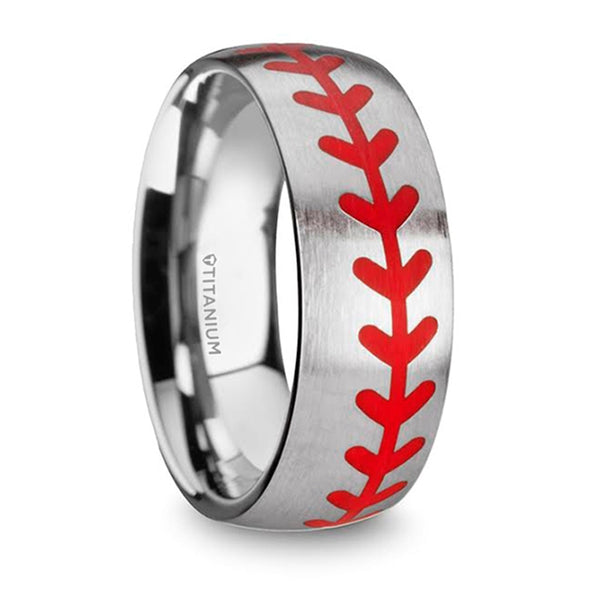 Thorsten Dimaggio Titanium Brushed Finish Ring w/ Red Baseball Stitching Pattern (8mm) T5726-TRBB
