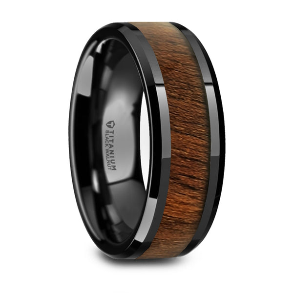 Thorsten Kony Black Titanium Polished Beveled Edges Black Walnut Wood Inlaid Wedding Ring (8mm) T6000-BTWW