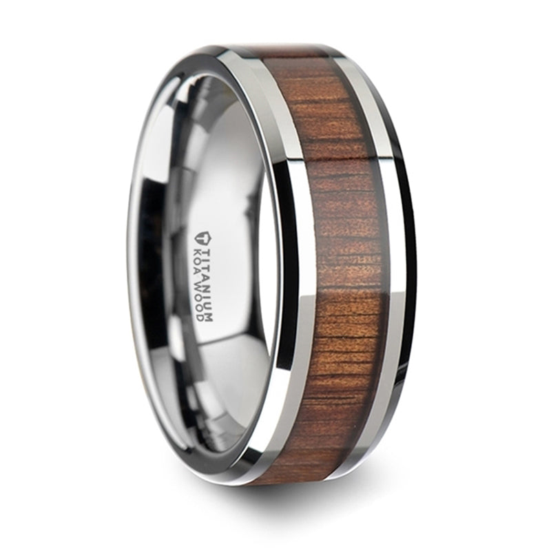 Thorsten Koan Titanium Polished Finish Koa Wood Inlaid Wedding Ring w/ Beveled Edges (8mm) T6002-TBKW