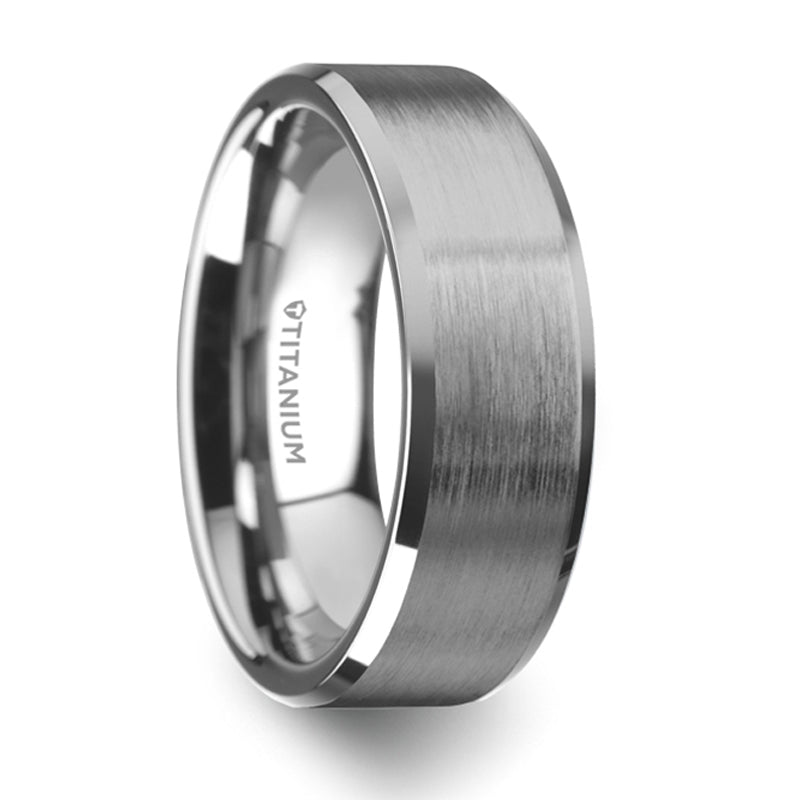 Thorsten Shire Titanium Brushed Center Flat Wedding Ring w/ Polished Beveled Edges (8mm) T6004-TPBB