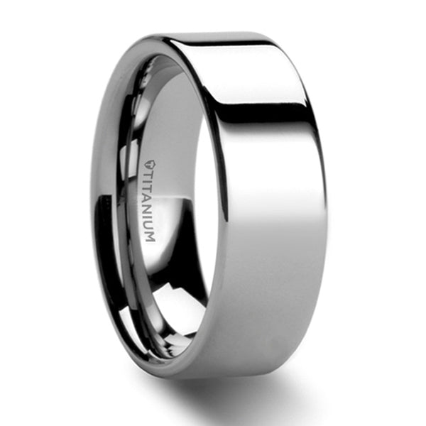 Thorsten Hardy Polished Finish Flat Style Titanium Wedding Ring(8mm)T6008-FTP