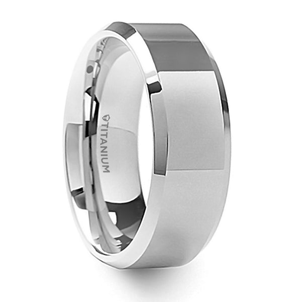 Thorsten Coronal Polished Finish Beveled Edges Titanium Wedding Ring w/ Raised Center(8mm)T6011-TPRC
