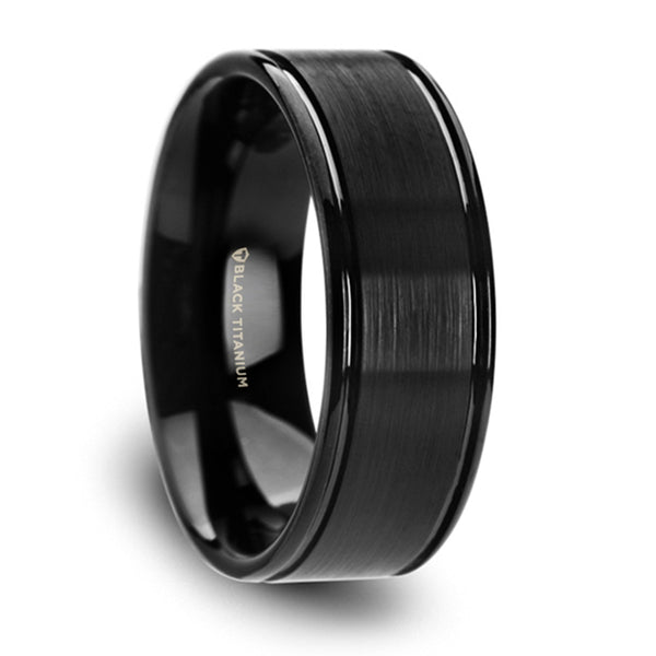 Thorsten Carver Black Titanium Brushed Finish Wedding Ring w/ Polished Dual Offset Grooves(8mm)T6012-TBBG
