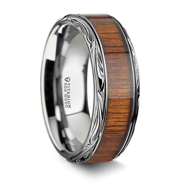 Thorsten Ohana Koa Wood Inlaid Titanium Wedding Ring w/ Intricate Edges (8mm)T6013-TPKW