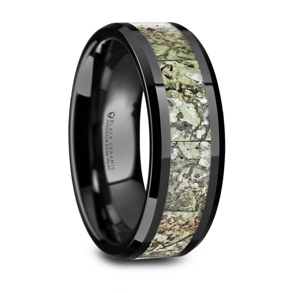Thorsten Drogon Light Green Dinosaur Bone Inlaid Black Ceramic Wedding Band w/ Polished Beveled Edge(8mm)T6014-BCGD