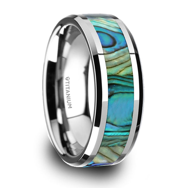 Thorsten Kaui Titanium Polished Finish Mother Of Pearl Inlaid Beveled Wedding Band (8mm)T6015-TPMP