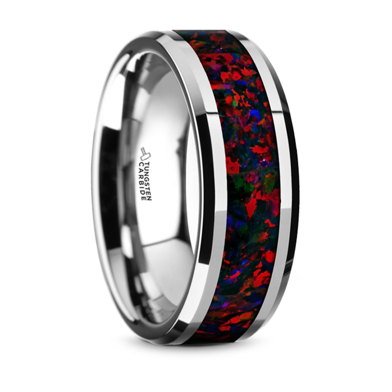 Thorsten Halley Tungsten Carbide Black Opal Inlay Wedding Band w/ Beveled Edges (8mm) TC5949-DBO