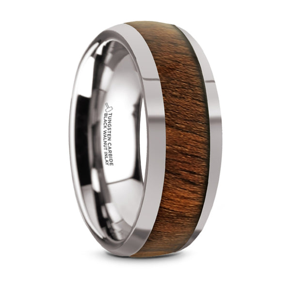 Thorsten Juglan Tungsten Carbide Polished Finish Domed Wedding Ring w/ Exotic Black Walnut Wood Inlay (8mm) TC5950-DBW