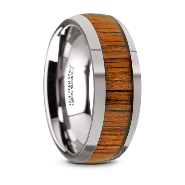 Thorsten Kameha Tungsten Domed Profile Polished Finish Men's Wedding Ring w/ Koa Wood Inlay (8mm) TC5953-DKW