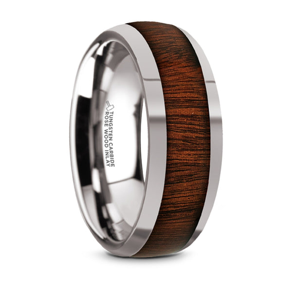 Thorsten Dalberg Tungsten Carbide Rose Wood Inlay Polished Finish Domed Wedding Ring (8mm) TC5956-DRW