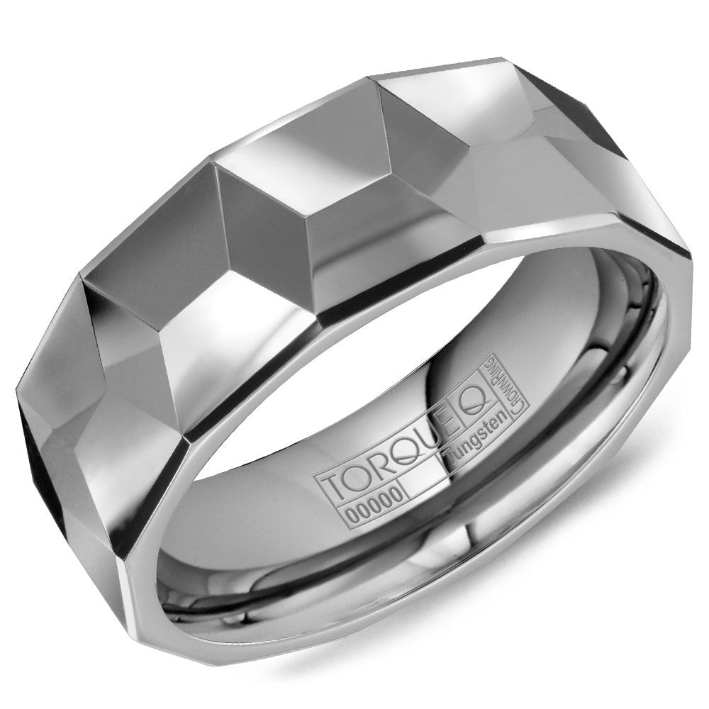 Torque Tungsten Collection 8MM Wedding Band with Architectural Design TU-0028