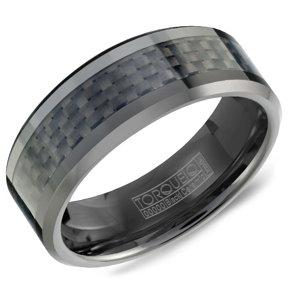 Torque Black Ceramic Collection 8MM Wedding Band with Carbon Fiber TU-0030