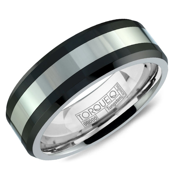 Torque Black Ceramic Collection 8MM Wedding Band with White Inlay TU-0031