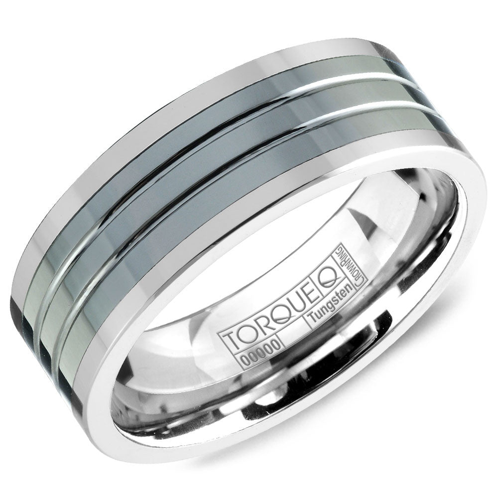 Torque Tungsten Collection 8MM Wedding Band with Black Ceramic Inlay TU-0034
