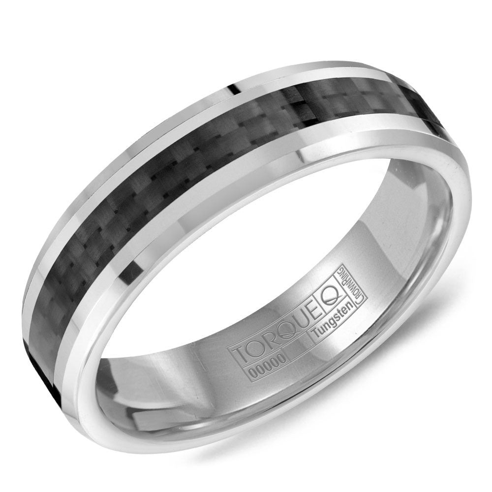 Torque Tungsten Collection 6MM Wedding Band with Black Carbon Fiber TU-0038