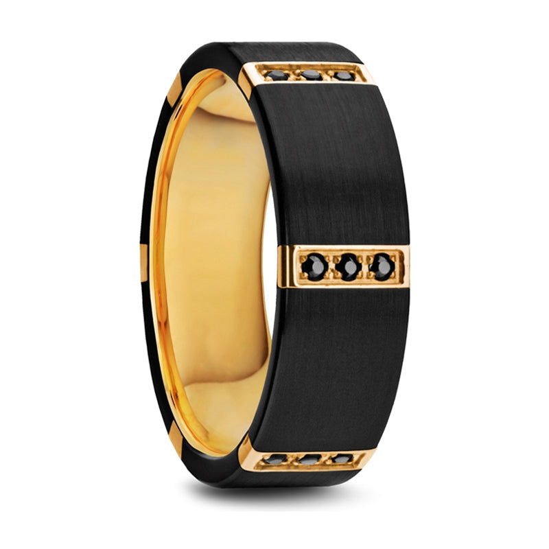 Thorsten Muramasa Flat Brushed Black Titanium Ring w/ Gold Plated Inside & 6 Gold Plated Stainless Steel Bezels w/ Triple Black Diamond Setting (8mm) W1281-BTGI