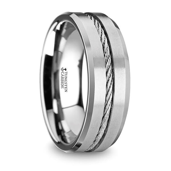 Thorsten Lannister Tungsten Flat Wedding Band w/ Steel Wire Cable Inlay & Beveled Edges (8mm) W1403-TCSW