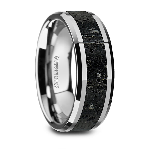 Thorsten Kilauea Polished Tungsten Wedding Band w/ Black & Gray Lava Rock Stone Inlay & Polished Beveled Edges (8mm) W1491-TCLI