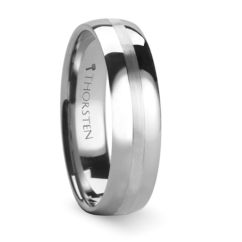 Thorsten Bellator Domed Tungsten Carbide Ring with Brushed Stripe (4-10mm) W237-DSS